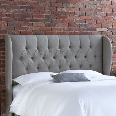 In store financing Tufted Wingback Linen Headboard Siz...