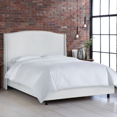 Credit for Wingback Bed Color: White, Size: Qu...