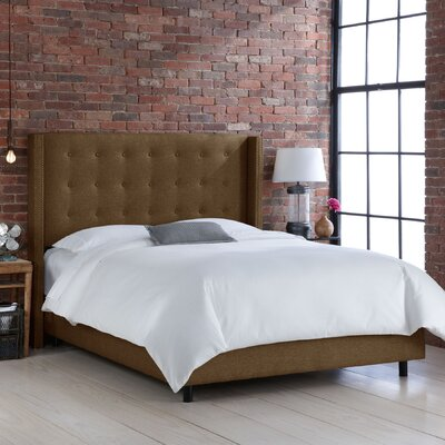Wingback Upholstered Panel Bed Size: Queen, Upholstery: Groupie Praline