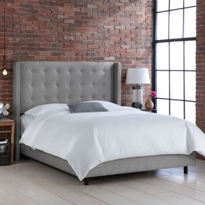 Wingback Upholstered Panel Bed Size: King, Color: Groupie Pewter