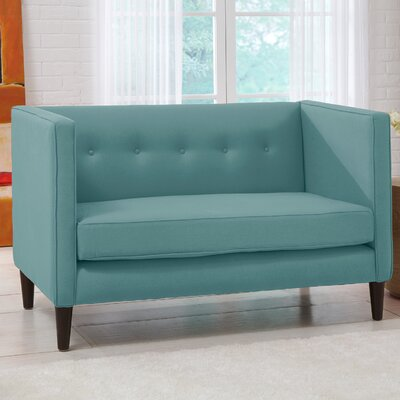 Linen 5 Button Chaise Chesterfield Loveseat Upholstery: Laguna