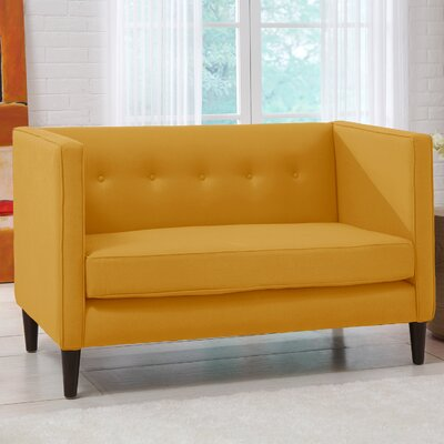 Linen 5 Button Chaise Loveseat Upholstery: French Yellow