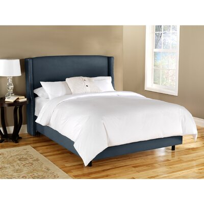 Wingback Chambers Upholstered Panel Bed Size: Queen, Color: Navy
