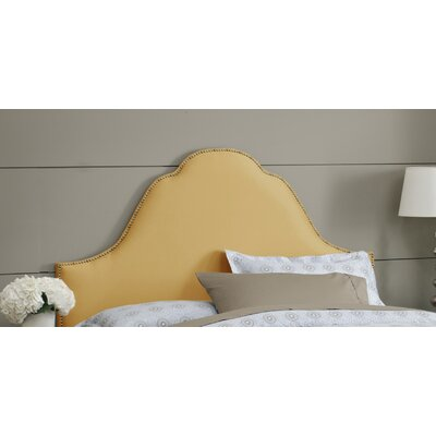 Shantung Upholstered Panel Headboard Size: Queen, Nailhead Finish: Brass, Finish: Shantung Aztec Gold