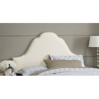 Shantung Upholstered Panel Headboard Size: Full, Color: Shantung Parchment, Nailhead Finish: Brass