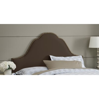 Shantung Upholstered Panel Headboard Size: Queen, Color: Shantung Chocolate, Nailhead Finish: Brass