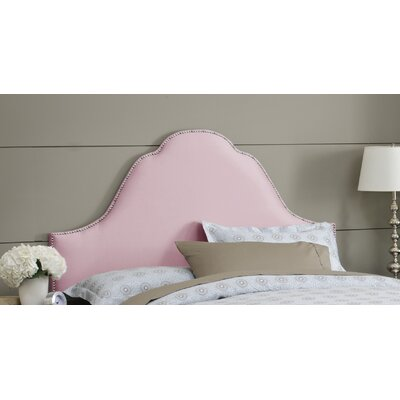 Shantung Upholstered Panel Headboard Size: Queen, Color: Shantung Woodrose, Nailhead Finish: Brass