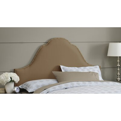 Shantung Upholstered Panel Headboard Size: Queen, Color: Shantung Khaki, Nailhead Finish: Brass
