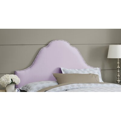 Shantung Upholstered Panel Headboard Size: Twin, Color: Shantung Lilac, Nailhead Finish: Pewter