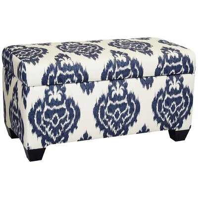 Diamon Upholstered Cotton Storage Ottoman Upholstery: Diamonds Blue Ikat