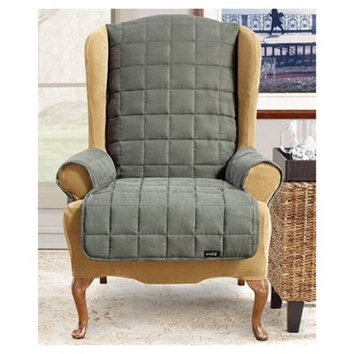 Waterproof Soft Suede Wingchair Slipcover Upholstery: Loden