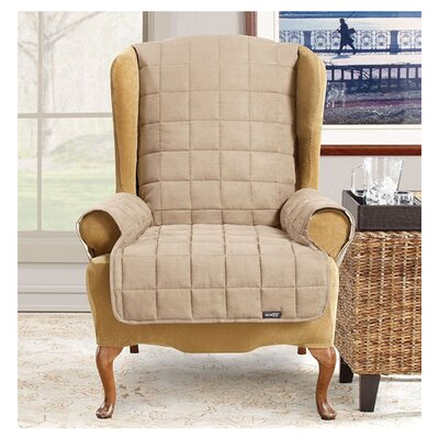 Waterproof Soft Suede Wingchair Slipcover Upholstery: Taupe