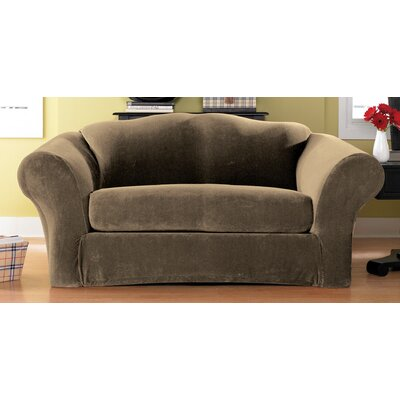 Stretch Pique Box Cushion Loveseat Slipcover Upholstery: Taupe