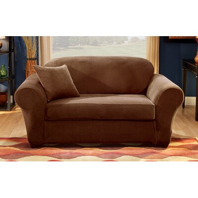 Stretch Pique Box Cushion Loveseat Slipcover Upholstery: Chocolate