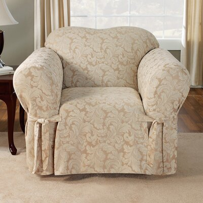 Scroll Classic Armchair Skirted Slipcover Upholstery: Champagne