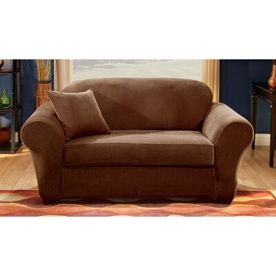 Sure Fit Stretch Pique Separate Seat Sofa Slipcover (3 Pieces) - Color: Chocolate
