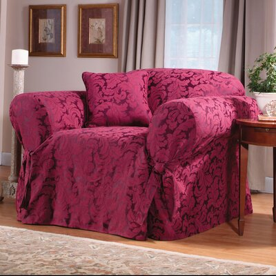 Scroll Classic Box Cushion Armchair Slipcover Upholstery: Burgundy/Hot Pink