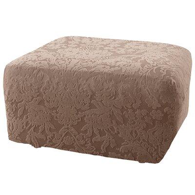 Stretch Jacquard Damask Ottoman Slipcover Upholstery: Mushroom