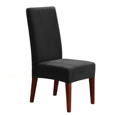 Stretch Pique Short Chair Slipcover Upholstery: Black