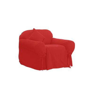 Cotton Duck Box Cushion Armchair Slipcover Upholstery: Claret