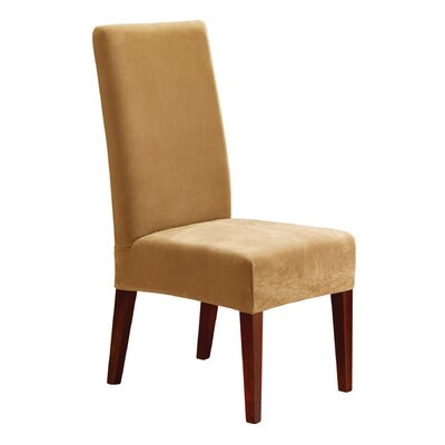 Stretch Pique Short Chair Slipcover Upholstery: Antique