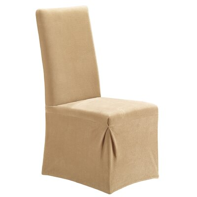Stretch Pique Dining Chair Slipcover Upholstery: Cream