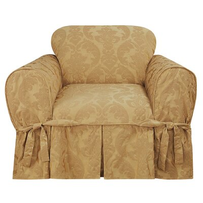 Matelasse Damask Box Cushion Armchair Slipcover Upholstery: Gold