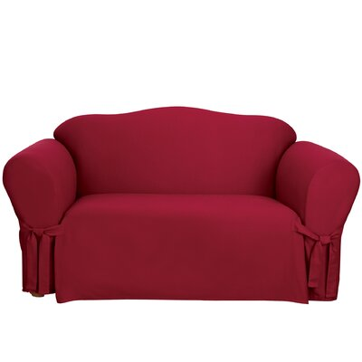 Cotton Duck Box Cushion Sofa Slipcover Upholstery: Claret