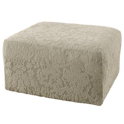 Stretch Jacquard Damask Ottoman Slipcover Upholstery: Sage
