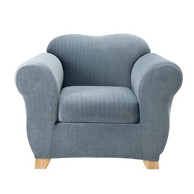 Stretch Pinstripe Armchair Slipcover Upholstery: French Blue