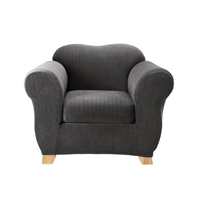 Stretch Pinstripe Box Cushion Armchair Slipcover Upholstery: Black