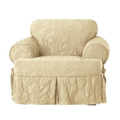 Matelasse Damask T-Cushion Armchair Slipcover Upholstery: Tan