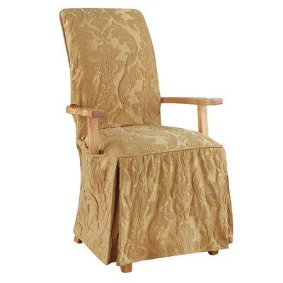 Matelasse Damask Armchair Slipcover Upholstery: Gold
