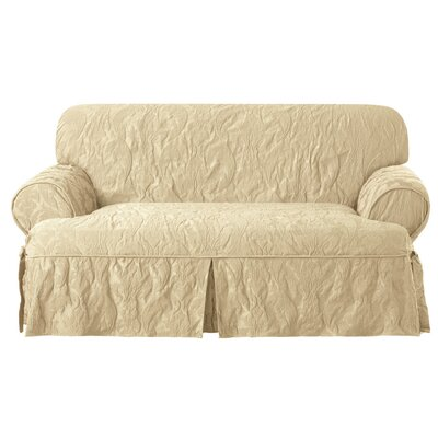 Matelasse Damask Loveseat T-Cushion Slipcover Upholstery: Tan