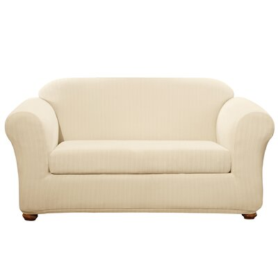 Stretch Pinstripe Box Cushion Loveseat Slipcover Upholstery: Cream