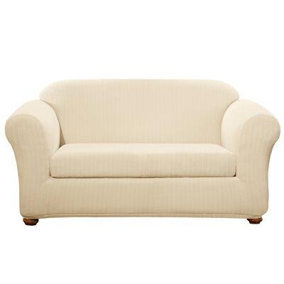 Stretch Pinstripe Loveseat Slipcover Upholstery: Cream