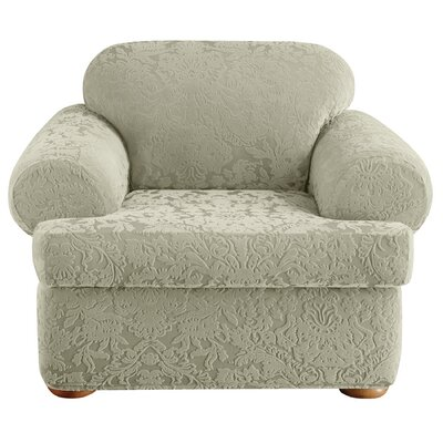 Stretch Jacquard Damask Armchair T-Cushion Slipcover Upholstery: Sage