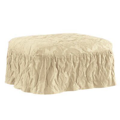 Matelasse Damask Ottoman Slipcover Upholstery: Tan