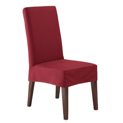Twill Supreme Short Chair Slipcover Color: Merlot