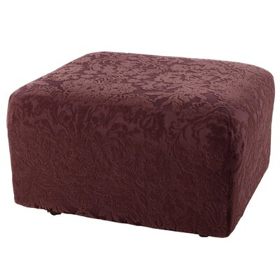 Stretch Jacquard Damask Ottoman Slipcover Upholstery: Raisin