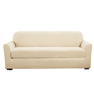 Stretch Pinstripe Box Cushion Sofa Slipcover Upholstery: Cream