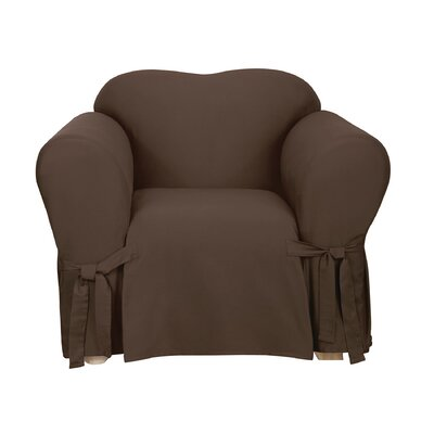 Cotton Duck Chair Slipcover Upholstery: Warm Chocolate