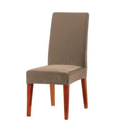 Stretch Pinstripe Dining Chair Slipcover Upholstery: Taupe