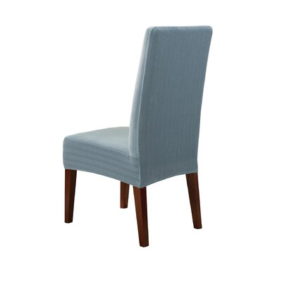 Stretch Pinstripe Dining Chair Slipcover Upholstery: French Blue