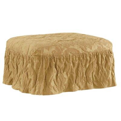 Matelasse Damask Ottoman Slipcover Upholstery: Gold