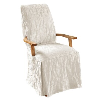 Matelasse Damask T-Cushion Armchair Slipcover Upholstery: White