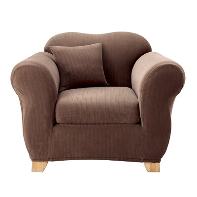 Stretch Pinstripe Box Cushion Armchair Slipcover Upholstery: Chocolate