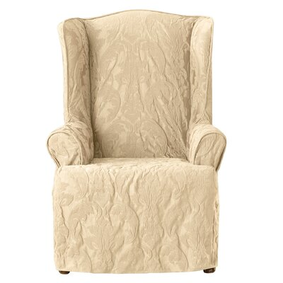 Matelasse Damask T-Cushion Wingback Slipcover Upholstery: Tan