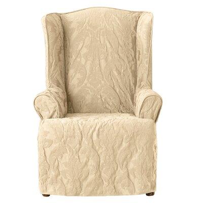 Matelasse Damask Wing Chair Slipcover Upholstery: Tan