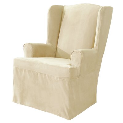 Soft Suede Wing Chair T-Cushion Slipcover Upholstery: Cream